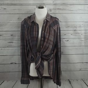 BDG NWOT Oversized Plaid High-Low Top - Size M